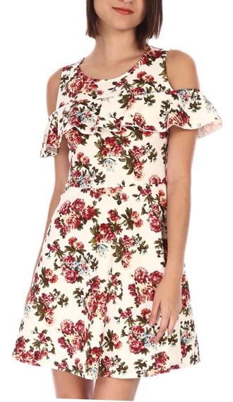 Vestido Vintage Hombro Descubierto Flores Otoño Invierno C72