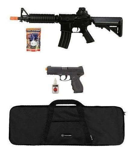 Rifle Airsoft M4 Cm176 + Pistola. 24/7 + Acessórios + Capa