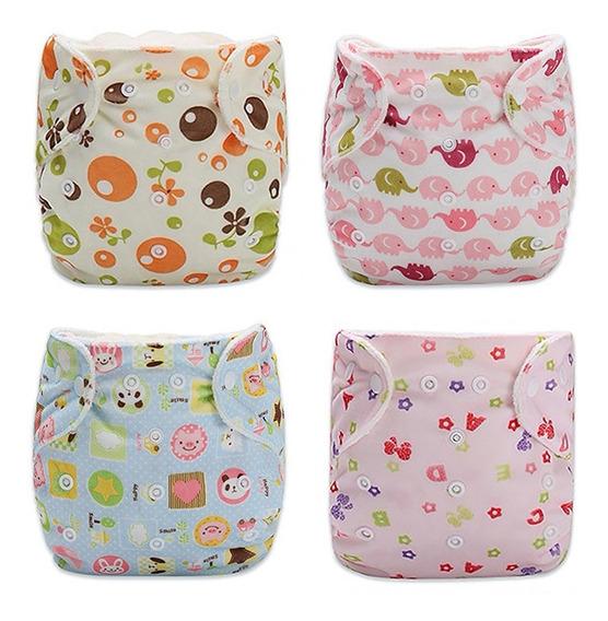 4 Pañal Bebe Ecológico Tela Minky Pul + Inserto