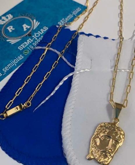 Corrente Cartier 60 Cm Banhada A Ouro 18k