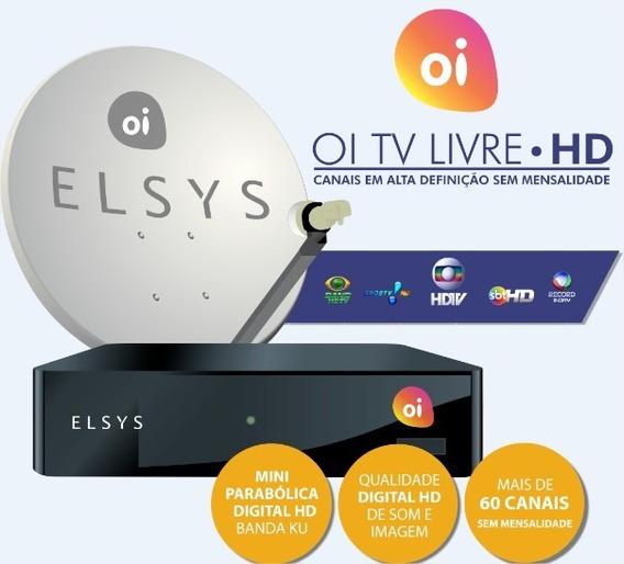 Kit Oi Tv Livre Hd Receptor Elsys Etrs35 Completo Lnb Duplo
