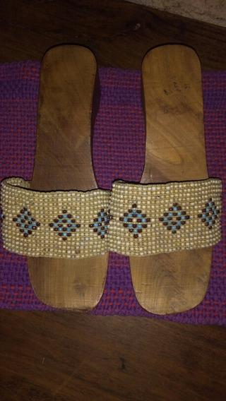 Sandalias Suecos Madera Canutillos Mujer Importados