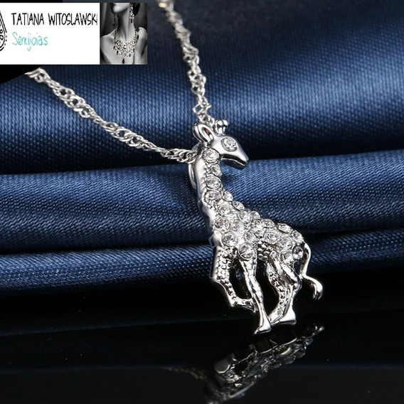 Colar Feminino Pingente Girafa Cravejado Cristais Aaa C341