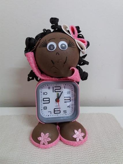 Boneca Afro Negra Relógio Decoração