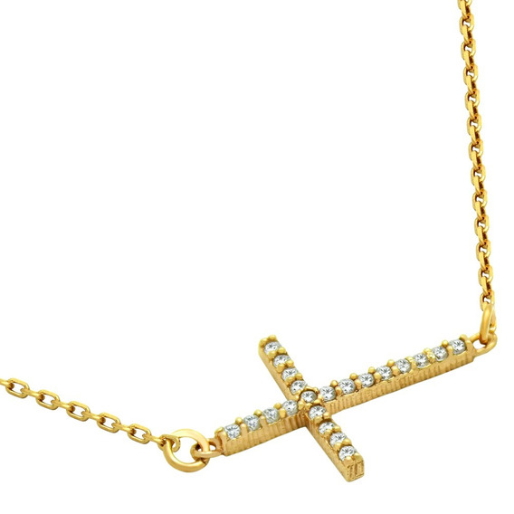 Gold Plated Sideways Cross Cz Necklace Adjustable 16 +2