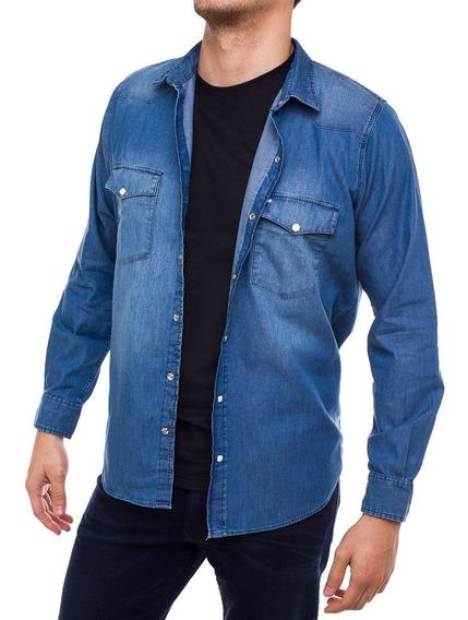 Camisa De Jean Hombre Pato Pampa Celeste