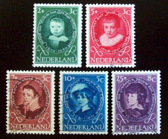 Holanda, Serie Sc. B286-90 Obras Infancia 1955 Usada L6898