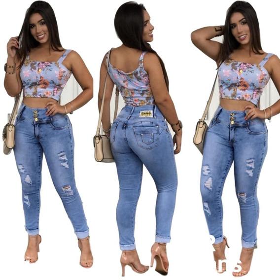 Calça Jeans Cintura Média Alta Levanta E Modela O Bumbum