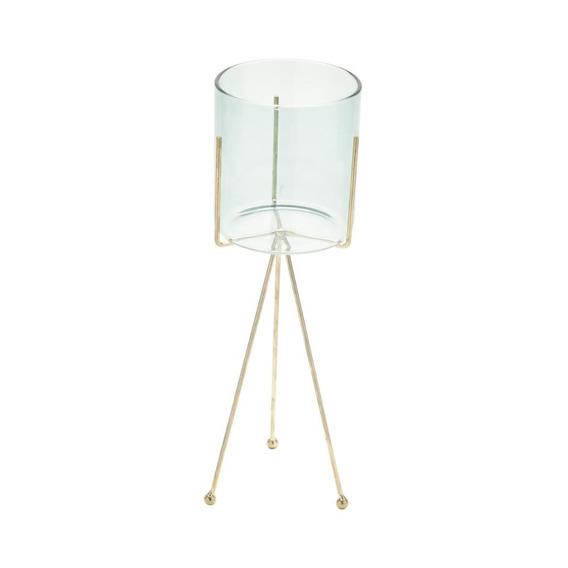 Castiçal Vidro Suporte Metal Gold Long Legs Azul 10x10x33 Cm
