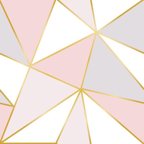 Papel De Parede Triangulo Geométrico Cinza Rosa Menina 3m