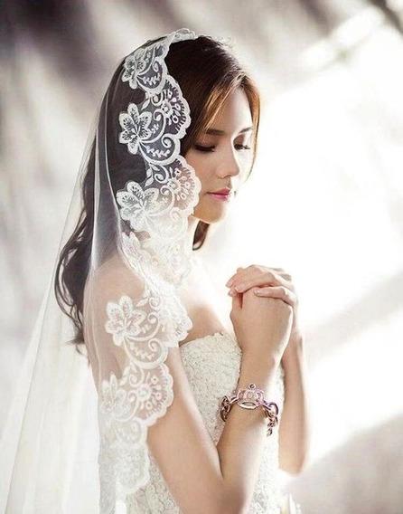 Véu Mantilha 5m Noiva Casamento Tule Todo Bordado Renda