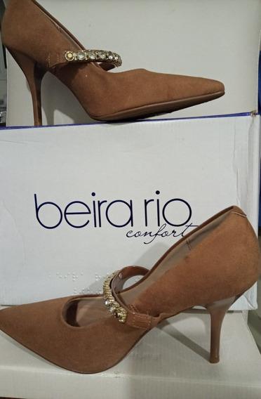 Stiletto Beige Gamuza Con Strass Beira Rio 38 Nuevo
