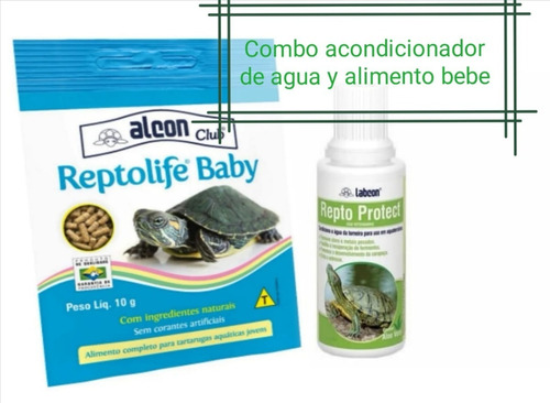 Alimento Tortugas Acuáticas Bebés + Acondicionador De Agua
