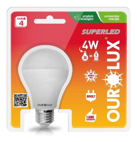 Kit 50 Lampada Led Bulbo Superled Ourolux 4w Bivolt 6500k