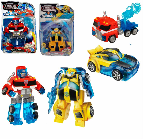 Boneco Transformers Energize Optimus Prime + Bumblebee