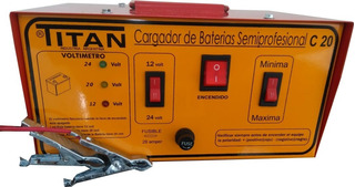 Cargador De Baterias Titan C-20 12 Y 24 Volts Nuevo Modelo Con Voltimetro