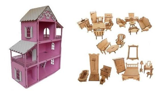 Casinha Casa De Boneca Rosa Polly+kit 27 Moveis Super Prom.