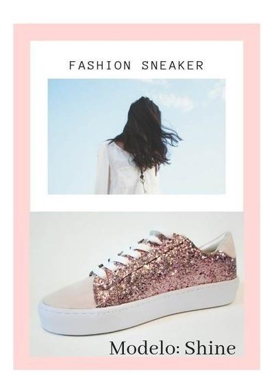 Sneaker Women Glitter Lila Sintetico Marca (super Cute)