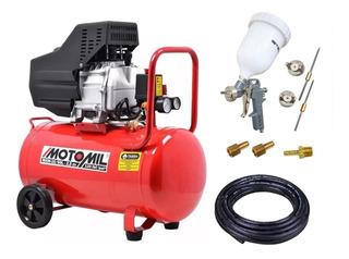 Compressor De Ar 10 Pés 50l 2,5cv Mam-10/50br Motomil + Kit