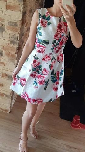 Vestido Blanco Con Rosas Flores Talla S Nuevo Con Etiqueta