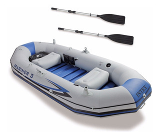 Lancha Inflable Intex Mariner 3 Personas Gris Pesca Mar Rios