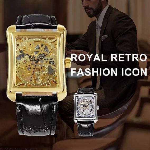 Relógio Winner Skeleton Unissex Luxo Retangular Golden 105