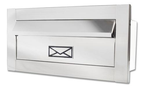 Caixa Correio Frente Inox Branca Preta Carta 23 Cm Profundid