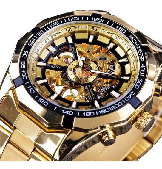Relógio De Pulso Mecânico Luminoso Masculino Prata