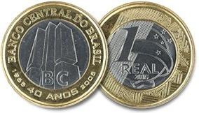 Moeda 1 Real Comemorativa - 40 Anos Banco Central