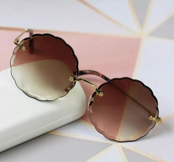 Óculos De Sol Carlina Flower Rosie Feminino Redondo + Brinde Limpa-lentes