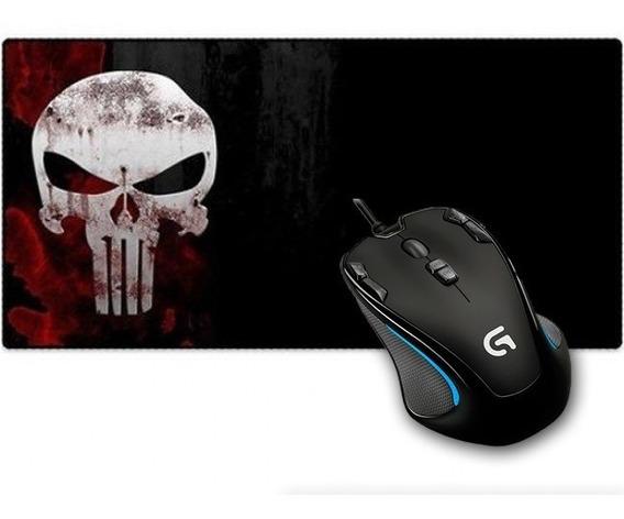 Kit Mouse Gamer Logitech Usb Led G300s + Mouse Pad Grande