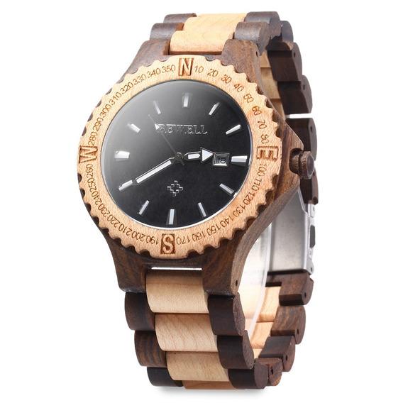 Bewell Zs - W023a Homens De Madeira Bracelete Relógio Quartz