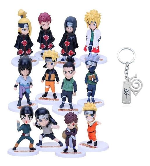 Belíssimo Kit 12 Bonecos Naruto + Lindo Chaveiro Metálico