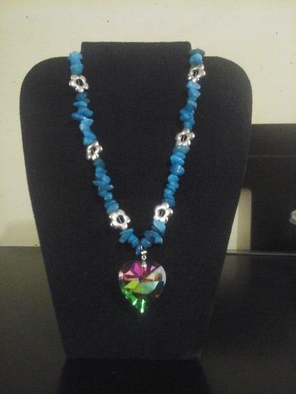 Collar Elaborado En Cuarzo Azul Turquesa