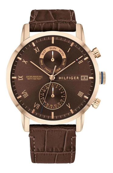 Relógio Tommy Hilfiger Rose Gold Couro Marrom 1710400