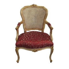 Cadeira Tecido Vermelho E Acabamento Dourado Gm137 61x54x93