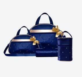 Kit Bolsa Maternidade Azul Marinho Linha Sublime 4 Peças