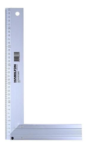 Escuadra De Aluminio 30 Cm Regla Metal Hamilton Profesional