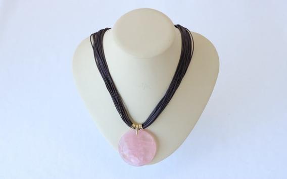 Colar Pedra Quartzo Rosa - Fio De Algodão