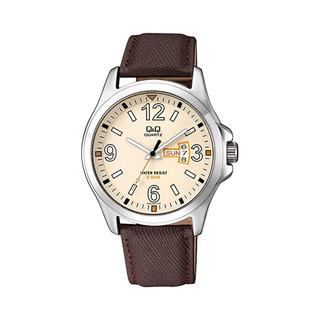 Reloj Hombre Q&q A200j Metal Y Cuero Calendario Doble Wr50m