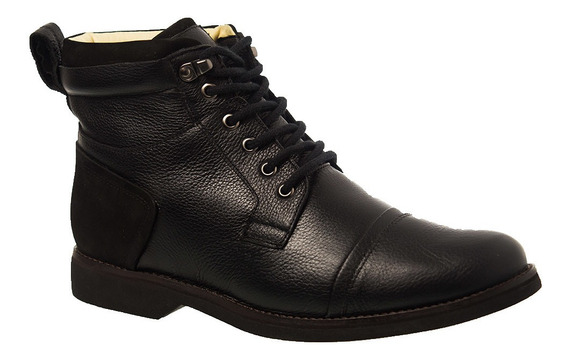 Coturno Masculino Gel Anatômico Em Couro Preto Floater/nobuck Preto 8617 Doctor Shoes