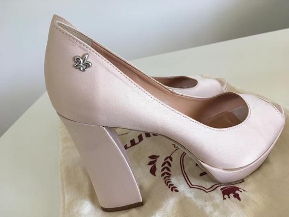 Sapatos De Cetim Rosé Carmim