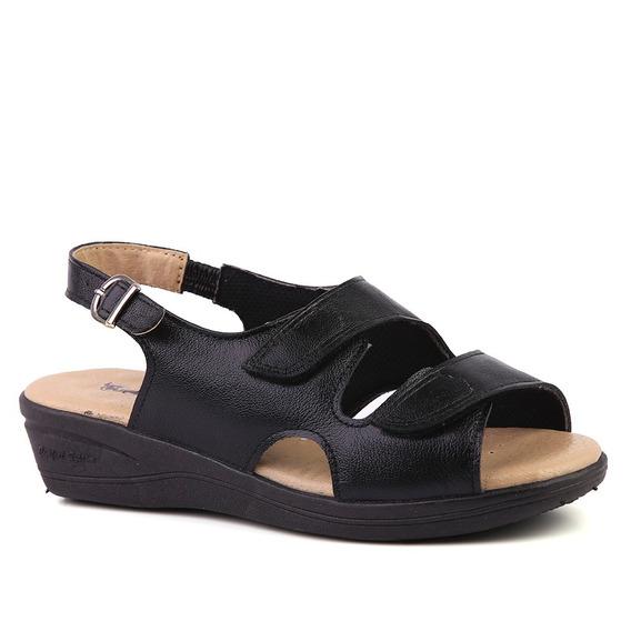 Sandália Feminina Anabela 7999 Em Couro Preto Doctor Shoes