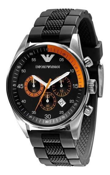 Reloj Emporio Armani Ar5878 Black Rubber Chronograph 43mm