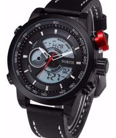 Relógio De Pulso North N6015 Preto Pulseira De Couro