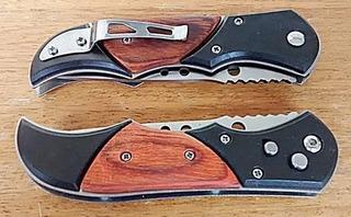 Canivete Automático Saque Rápido Detalhe Madeira C/ Clipe