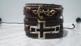 Pulseira Bracelete Couro Fecho Ajustável Masc Fem 1 Und