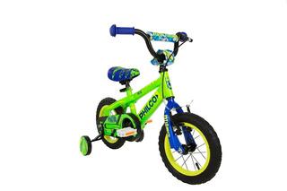 Bicicleta Philco Niño R12 Infantil Verde Con Rueditas
