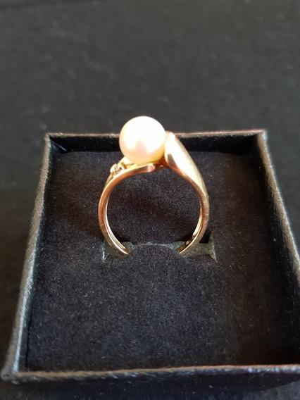 Anillo Cocktail Perla, Diamante Y Oro 10k Solido