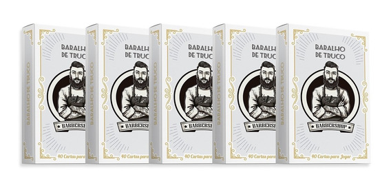 Kit 5 Baralhos Truco Barbershop Barbearia Jogos Cartas Naipe